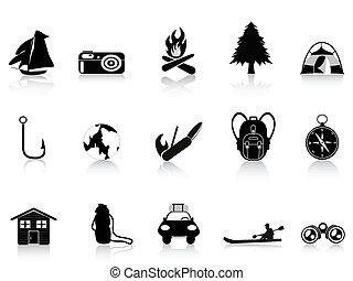 fuori, nero, campeggio, icona