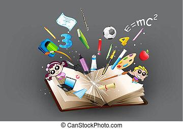 fuori, oggetto, educazione, libro, venuta