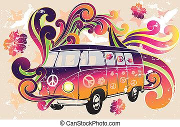 furgone, fiore, -, retro, potere