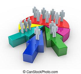 fusione, concetto, affari, 3d