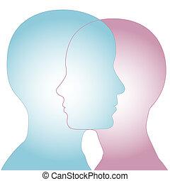 fusione, maschio, profilo, femmina, facce, &, silhouette