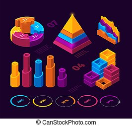 futuristico, analisi, elementi, affari, barre, isometrico, statistica, tabelle, infographic., vettore, schemi