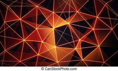 futuristico, arancia, ardendo, rete, maglia