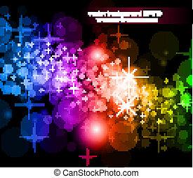 futuristico, arcobaleno, fondo, luci, volantini, manifesto