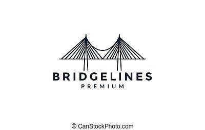 futuristico, icona, vettore, linea, contorno, ponte, disegno, logotipo