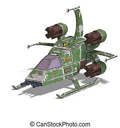 futuristico, scifi, robot, trasformare, astronave