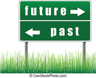 futuro, segnale stradale, past.