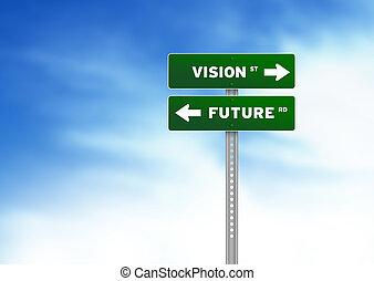 futuro, visione, segno strada