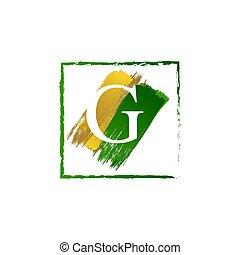 g, alfabeto, logotipo, elegante, oro, schizzo, verde, lettera, grunge