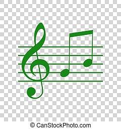 g-clef, segno., scuro, fondo., verde, note, h., violino, musica, g, chiave, trasparente, icona