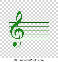 g-clef., segno., scuro, fondo., verde, violino, musica, chiave, trasparente, icona