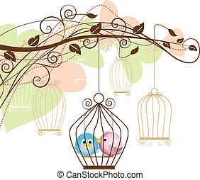 gabbia, uccelli