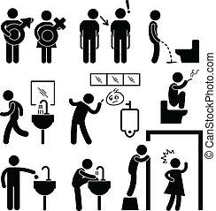 gabinetto, divertente, icona, pubblico, pictogram