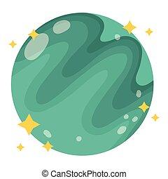 galassia, cartone animato, stile, spazio, astronomia, nettuno, pianeta