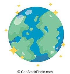 galassia, cartone animato, stile, spazio, astronomia, terra pianeta