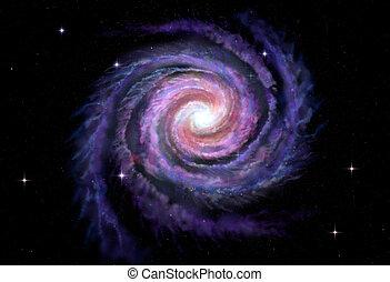 galassia, modo, latteo, illustrazione, spirale