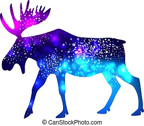 galassia, silhouette, fondo, spazio, alce
