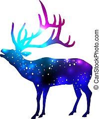 galassia, silhouette, fondo, spazio, cervo, dentro, effetto