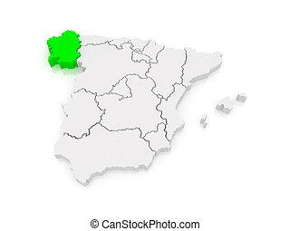 Cartina Spagna Galizia.Mappa Spagna Galizia Mappa Province Evidenziato Yellow Galizia Spagna Canstock
