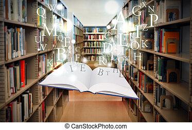 galleggiante, libro, lettere, educazione, biblioteca