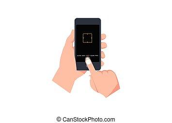 galleria, time., smartphone, moderno, qualità, stabilizzazione, viewfinder., application., appartamento, ui., hdr, focalizzazione, immagine, interfaccia, schermo, stile, vettore, macchina fotografica, icona, illustrazione, registrazione, utente