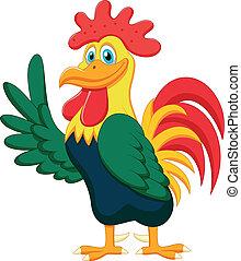 gallo, cartone animato, carino, ondeggiare