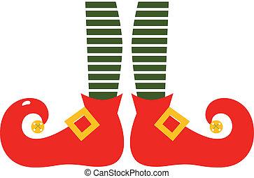 gambe, elf's, isolato, natale, cartone animato, bianco