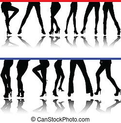 gambe, silhouette, vettore, donna