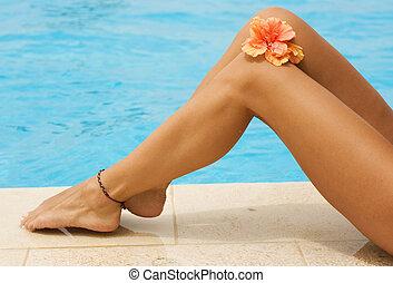 gambe, vacanza, nuoto, concept., stagno