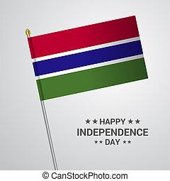 gambia, tipografico, bandiera, vettore, disegno, giorno, indipendenza