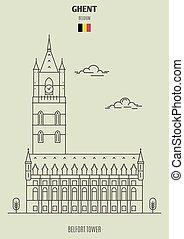gand, torre, belfort, punto di riferimento, belgium., icona