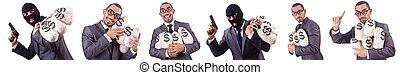 gangster, borse, bianco, soldi