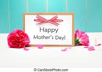 garofani rosa, giorno, scheda, madri