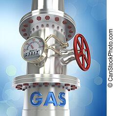 gas, conduttura, concetto, -