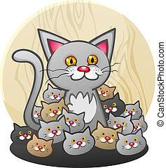 gattini, figliata, gatto, madre