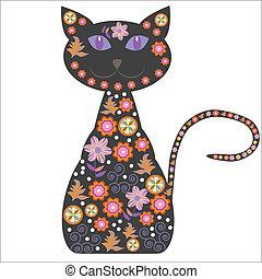 gatto, carino, silhouette, flo