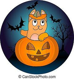 gatto, minaccioso, halloween, illustration., zenzero, pipistrelli, fondo, divertente, lanterna, tutto, vigilia, carino, -, vettore, pieno, santi, day., zucca, colorare, seduta, cricco, notte