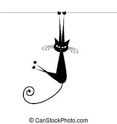 gatto, nero, tuo, disegno, divertente, silhouette