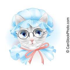 gatto, vendemmia, occhiali, ritratto