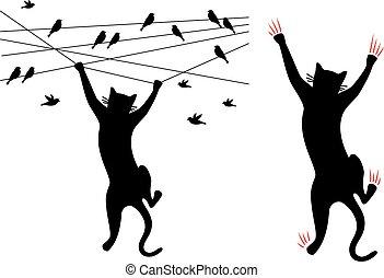 gatto, vettore, nero, rampicante, filo, uccelli
