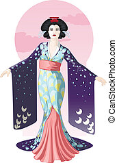geisha, disegno, carattere, retro, attraente, attrice, giapponese