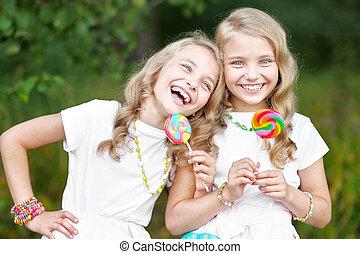 gemelli, beautifullittle, ragazze, due, ritratto