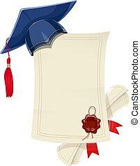 gemma blu, diploma, graduazione, academicic, vuoto, rotolo