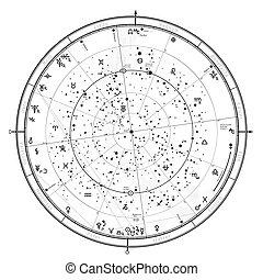 generale, '2020., oroscopo, astrologico, universale, celestiale, globale, mappa, settentrionale, hemisphere.