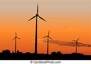 generatori, vento, alba