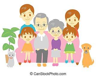 generazione, fami, famiglia, tre, divano
