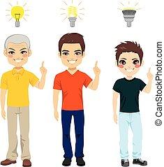 generazione, luce, idea, tre, bulbo