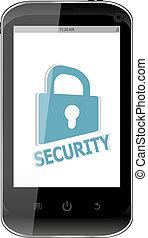 generico, display., serratura, telefono, smartphone, mobile, sicurezza, far male