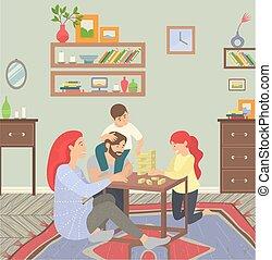 genitori, bambini, casa, felice, gioco, famiglia