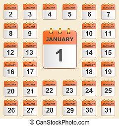 gennaio, calendario, set, icone